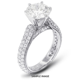 14k White Gold Three-Diamonds Row Engagement Ring with 2.78 Total Carat D-SI1 Round Diamond