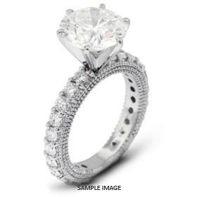 14k White Gold Engagement Ring with Milgrains with 5.09 Total Carat I-SI3 Round Diamond