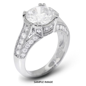 14k White Gold Engagement Ring with Milgrains with 3.64 Total Carat J-SI1 Round Diamond