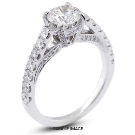 18k White Gold Engagement Ring with Milgrains with 2.85 Total Carat J-SI1 Round Diamond