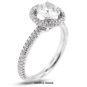 18k White Gold Two-Diamonds Row Engagement Ring with 1.21 Total Carat E-SI3 Round Diamond