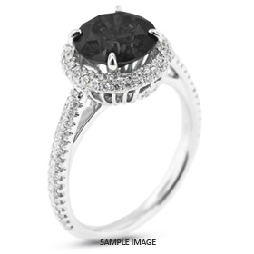 18k White Gold Two-Diamonds Row Engagement Ring with 2.20 Total Carat Black Round Diamond