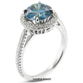 18k White Gold Two-Diamonds Row Engagement Ring with 1.70 Total Carat Blue-SI1 Round Diamond