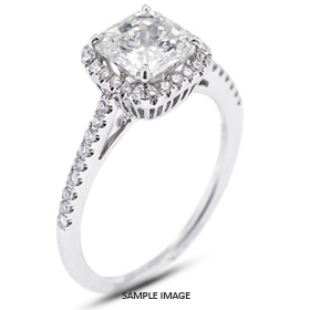18k White Gold Accents Engagement Ring with 2.02 Total Carat H-VS2 Square Cushion Diamond