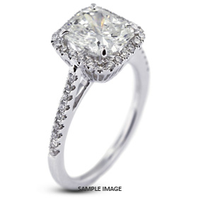 18k White Gold Accents Engagement Ring with 2.65 Total Carat H-SI1 Princess Diamond