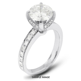 18k White Gold Semi-Mount Engagement Ring with Milgrains with Diamonds (1.17ct. tw.)