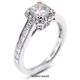 18k White Gold Vintage Style Semi-Mount Engagement Ring with Halo with Diamonds (0.72ct. tw.)