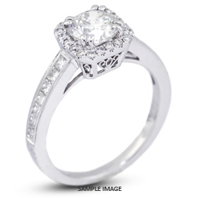 18k White Gold Vintage Style Semi-Mount Engagement Ring with Halo with Diamonds (0.73ct. tw.)