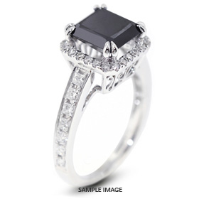 18k White Gold Vintage Style Engagement Ring with Halo with 3.92 Total Carat Black Princess Diamond