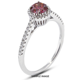 18k White Gold Accents Engagement Ring with 0.80 Total Carat Pink-VS2 Round Diamond