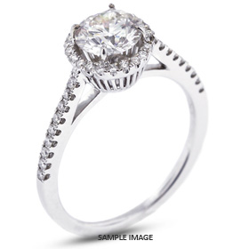 18k White Gold Accents Engagement Ring with 0.87 Total Carat H-SI3 Round Diamond