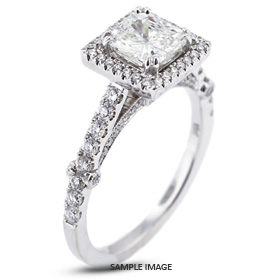 18k White Gold Engagement Ring with Milgrains with 4.03 Total Carat J-VS2 Princess Diamond
