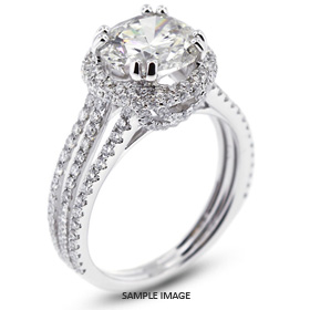 18k White Gold Split Shank Engagement Ring with 2.81 Total Carat F-SI2 Round Diamond