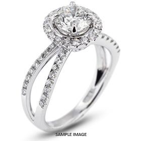 18k White Gold Split Shank Engagement Ring with 2.49 Total Carat J-SI1 Round Diamond