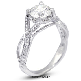 18k White Gold Split Twist Shank Engagement Ring with 2.09 Total Carat E-SI3 Round Diamond