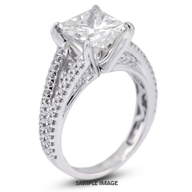 18k White Gold Split Shank Engagement Ring with 4.01 Total Carat I-SI1 Square Radiant Diamond