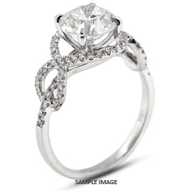 18k White Gold Split Twist Shank Engagement Ring with 2.09 Total Carat F-SI3 Round Diamond