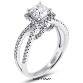 18k White Gold Split Shank Engagement Ring with 2.21 Total Carat F-VS2 Princess Diamond