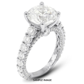 18k White Gold Accents Engagement Ring with 4.15 Total Carat J-SI1 Round Diamond