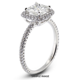 18k White Gold Two-Diamonds Row Engagement Ring with 2.51 Total Carat G-SI1 Princess Diamond
