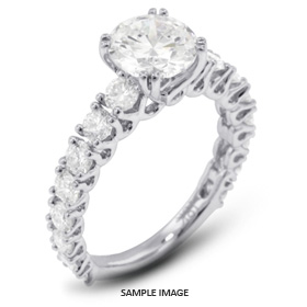 18k White Gold Accents Engagement Ring with 4.15 Total Carat E-SI2 Round Diamond