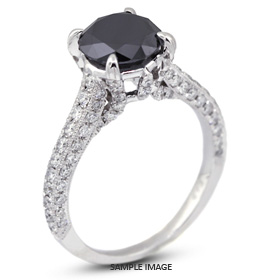 18k White Gold Engagement Ring with Milgrains with 2.51 Total Carat Black Round Diamond