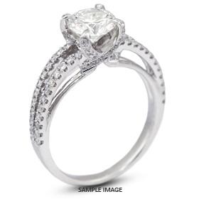 18k White Gold Split Shank Engagement Ring with 1.75 Total Carat F-VS2 Round Diamond