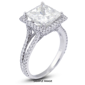 18k White Gold Split Shank Engagement Ring with 4.26 Total Carat I-SI1 Princess Diamond