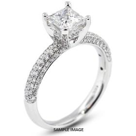 18k White Gold Four-Diamonds Row Engagement Ring with 1.73 Total Carat G-I1 Princess Diamond