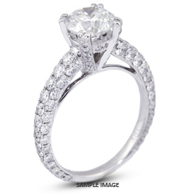 18k White Gold Three-Diamonds Row Engagement Ring with 5.51 Total Carat I-SI1 Round Diamond