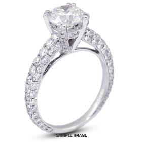 18k White Gold Three-Diamonds Row Engagement Ring with 4.71 Total Carat H-SI3 Round Diamond