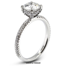 18k White Gold Two-Diamonds Row Engagement Ring with 1.89 Total Carat L-VS1 Round Diamond
