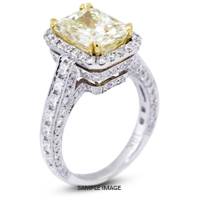 18k White Gold Vintage Style Engagement Ring With Halo 452 Total Carat Light Yellow SI2 Rectangular Radiant Diamond From Traces