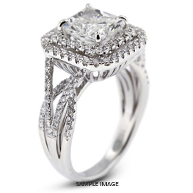 18k White Gold Vintage Style Semi-Mount Engagement Ring with Halo with Diamonds (1.17ct. tw.)