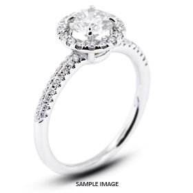 18k White Gold Two-Diamonds Row Engagement Ring with 0.87 Total Carat H-SI3 Round Diamond