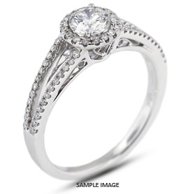 18k White Gold Split Shank Engagement Ring with 0.81 Total Carat I-SI2 Round Diamond