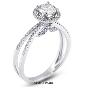 18k White Gold Split Shank Engagement Ring with 1.01 Total Carat H-SI3 Round Diamond