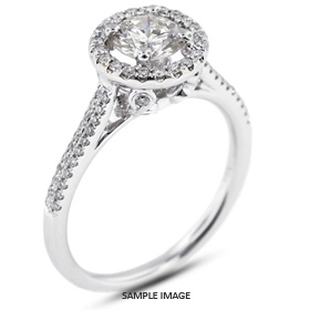 18k White Gold Two-Diamonds Row Engagement Ring with 1.06 Total Carat I-I1 Round Diamond