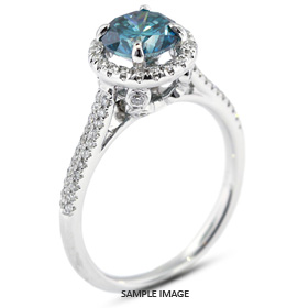 18k White Gold Two-Diamonds Row Engagement Ring with 1.81 Total Carat Blue-SI2 Round Diamond