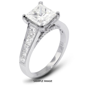 18k White Gold Engagement Ring with Milgrains with 2.97 Total Carat J-SI2 Princess Diamond