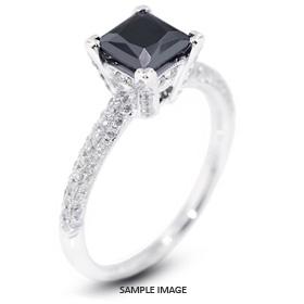 18k White Gold Three-Diamonds Row Engagement Ring with 1.60 Total Carat Black Princess Diamond