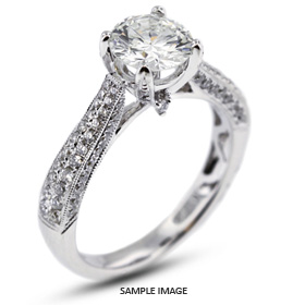 18k White Gold Two-Diamonds Row Semi-Mount Engagement Ring with Diamonds (0.72ct. tw.)