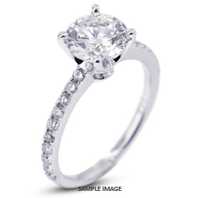 18k White Gold Accents Engagement Ring with 3.14 Total Carat H-SI1 Round Diamond