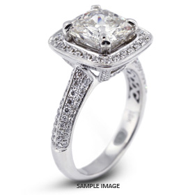 18k White Gold Four-Diamonds Row Engagement Ring with 3.17 Total Carat F-SI2 Square Radiant Diamond