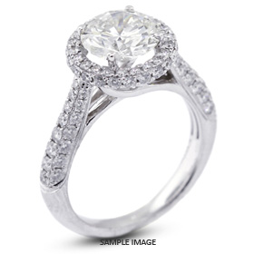 18k White Gold Three-Diamonds Row Engagement Ring with 3.81 Total Carat G-SI2 Round Diamond