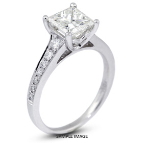 18k White Gold Engagement Ring with Milgrains with 1.62 Total Carat F-SI1 Princess Diamond