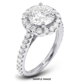 18k White Gold Accents Engagement Ring with 3.28 Total Carat D-VS2 Round Diamond