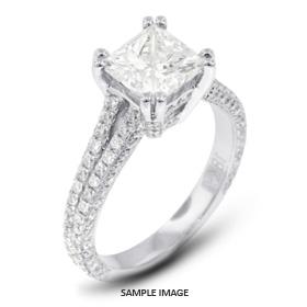 18k White Gold Split Shank Engagement Ring with 4.29 Total Carat H-SI2 Princess Diamond