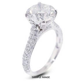 18k White Gold Three-Diamonds Row Engagement Ring with 3.70 Total Carat G-SI1 Round Diamond