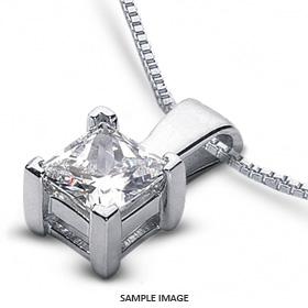 14k White Gold Classic Style Solitaire Pendant 2.11 carat D-VS1 Princess Cut Diamond